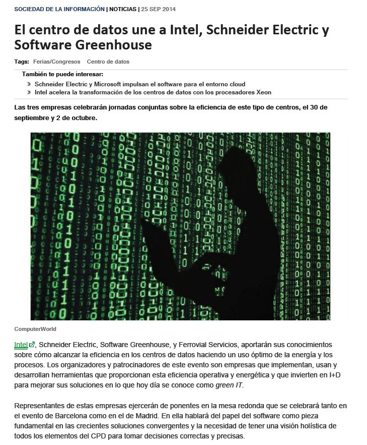Computerworld-2014-09-25-El-centro-de-datos-une-a-Intel-Schneider-Electric-y-Software Greenhouse